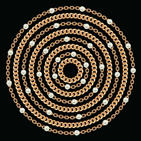 Round pattern made with golden chains and pearls. On black. Vector illustration