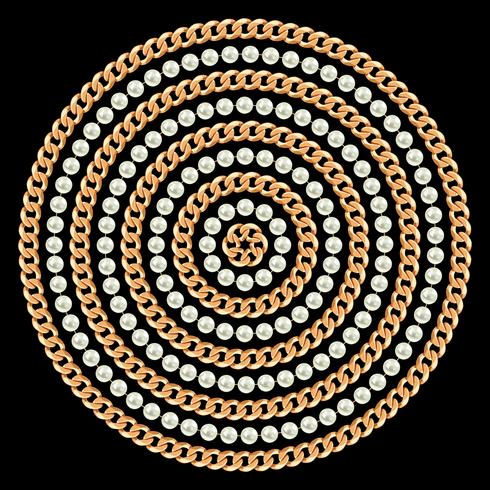 Motif rond fait avec des chaînes et des perles d'or. Sur le noir. Illustration vectorielle vecteur