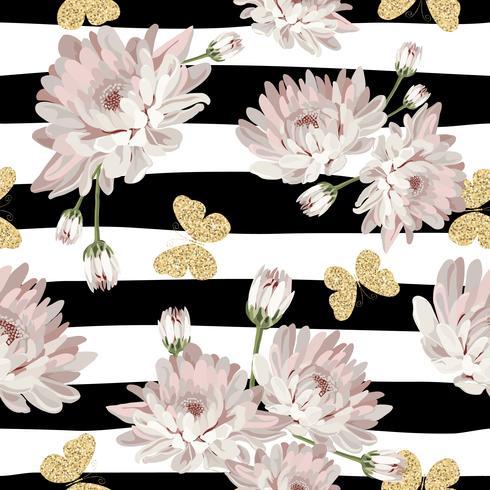 Patrón floral sin fisuras con mariposas brillantes
