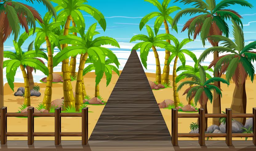 Natur scen med bro till havet