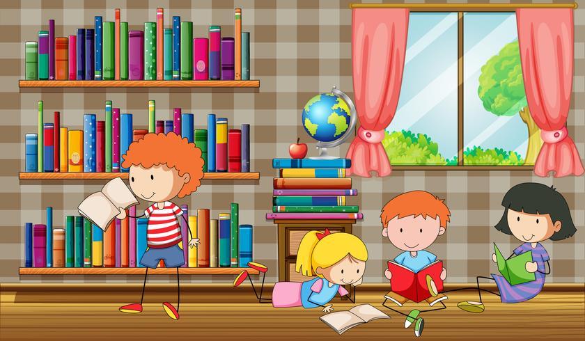 Crianças lendo livros na biblioteca