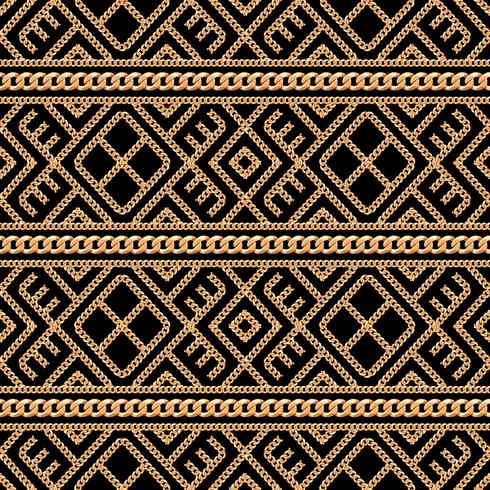 Modello senza cuciture dell'ornamento geometrico della catena dell'oro su fondo nero. Illustrazione vettoriale
