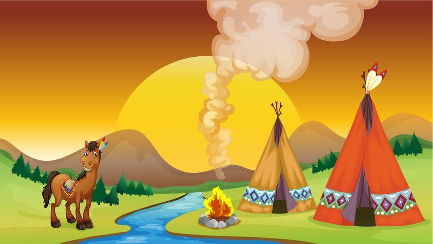 Ein Lagerfeuer und der Sonnenuntergang