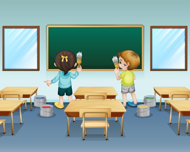 Estudiantes pintando sus aulas