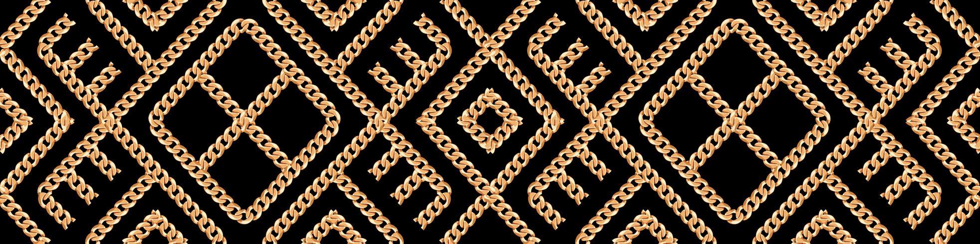 Modèle sans couture d'ornement géométrique de chaîne en or sur fond noir. Illustration vectorielle
