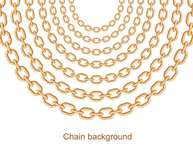 Fondo con cadenas doradas con collar metálico. Sobre blanco vector