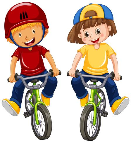 Ragazzi urbani che guidano bicicletta su fondo bianco