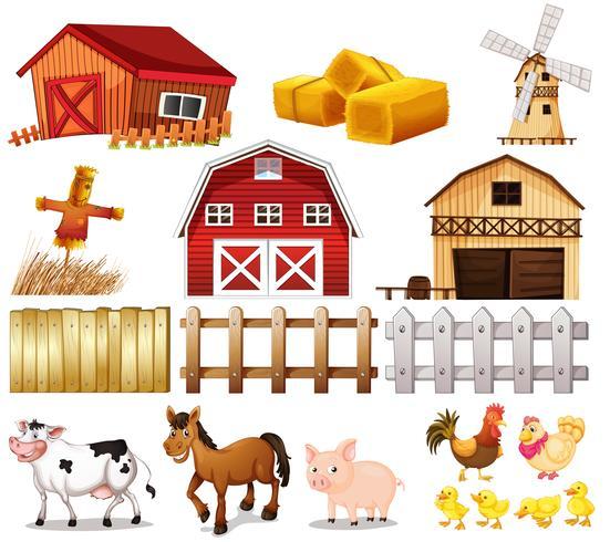 Cosas y animales encontrados en la granja. vector