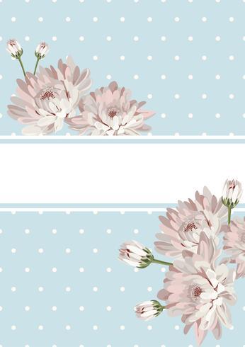Cover oder Kartenvorlage. Schäbiger Chic. Blumen auf blauem Tupfenhintergrund. Kann auch für Plakate, Banner, Flyer, Präsentationen verwendet werden