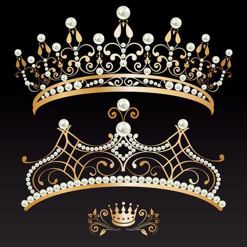 conjunto coleção de dois de ouro com pérolas tiaras e coroa vetor