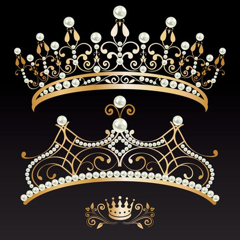 Set colección de dos tiaras doradas con perlas y corona.