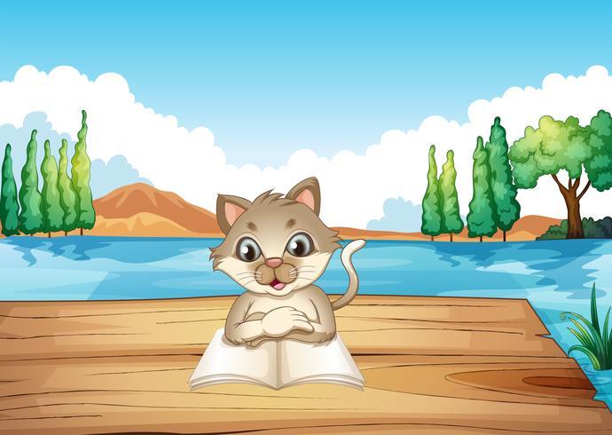 Un gato leyendo un libro en el puerto. vector