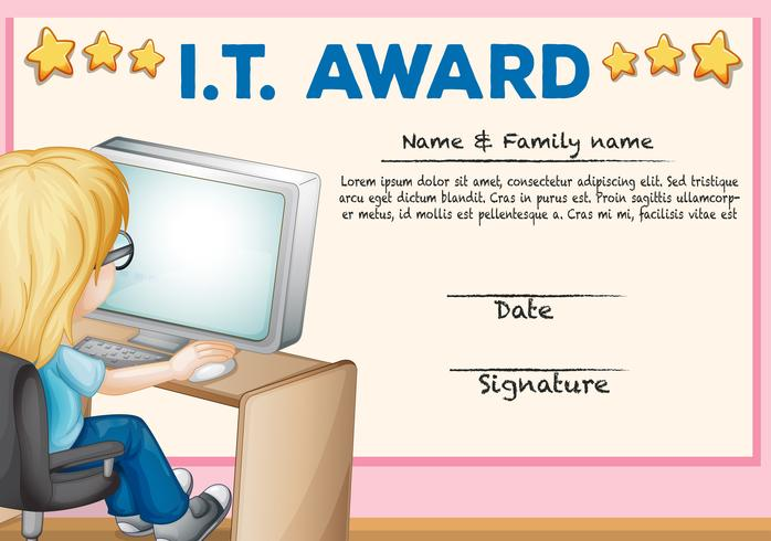 Plantilla de certificado para tecnología de la información.
