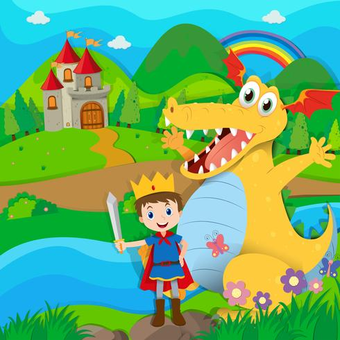 Cavaliere e drago nella terra fatata