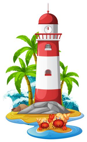 Lighthouse and hermit crabs on beach