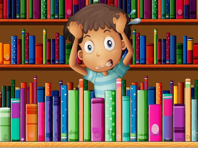 Un joven frustrado en la biblioteca.