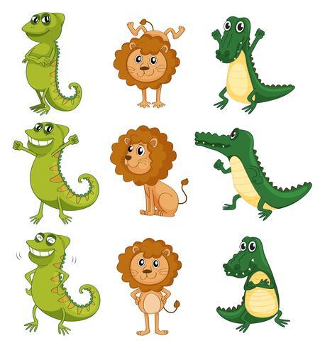 Un león, un camaleón y un cocodrilo.