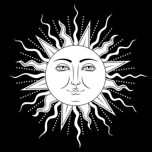 Sol con símbolo de rostro humano. Ilustracion vectorial