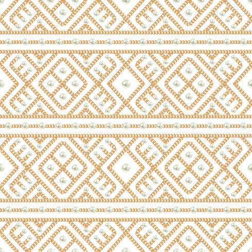 Seamless mönster av guldkedja geometrisk prydnad och pärlor på vit bakgrund. Vektor illustration
