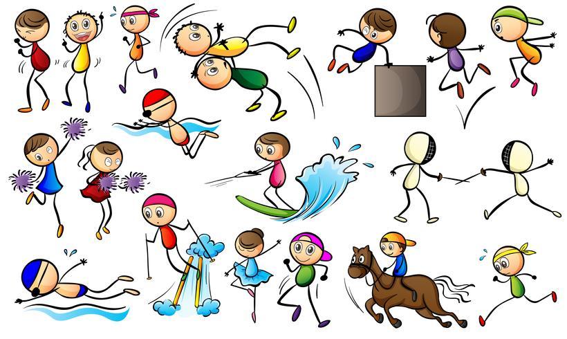 Barn gör sportaktiviteter