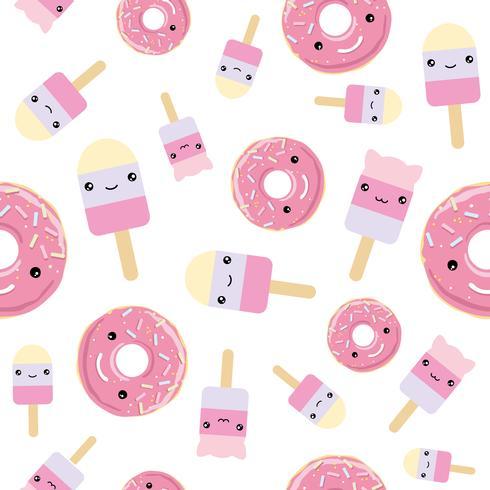 Modello senza soluzione di continuità grazioso gelato in stile kawaii e ciambelle glassate rosa. vettore