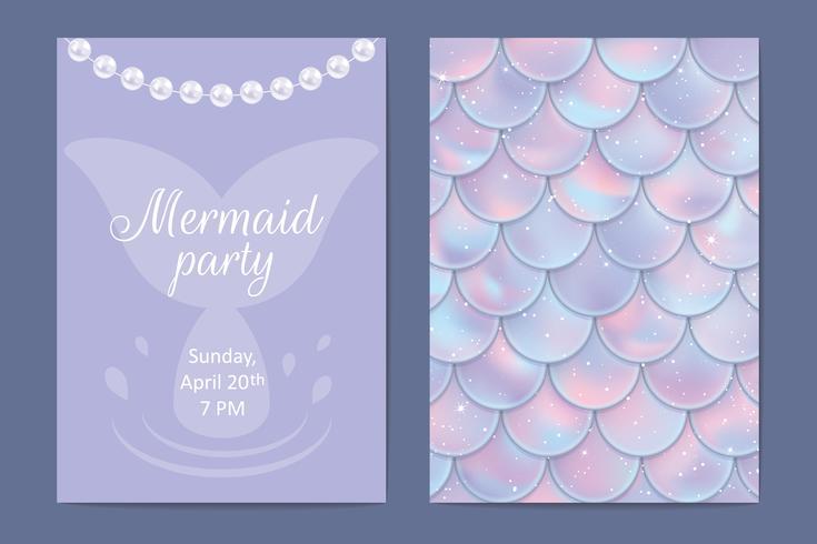 Invito a una festa Pesci olografici o scaglie di sirene, perle e cornice. Illustrazione vettoriale