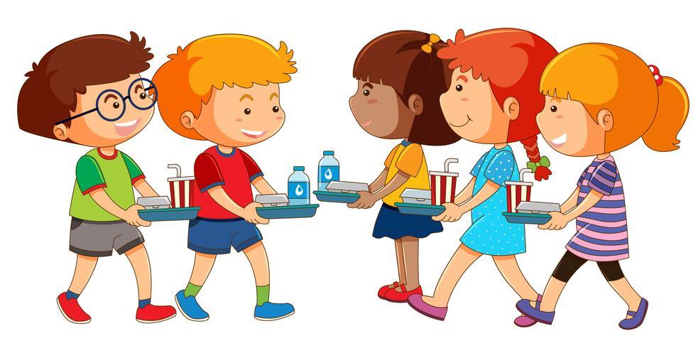 Niños con set de almuerzo.