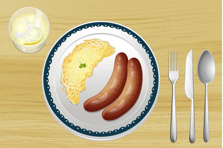 Sausages and spaetzle  vector
