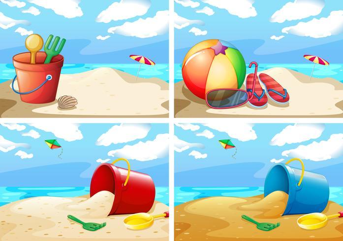 Scene con spiaggia e giocattoli