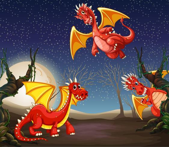 Dragón rojo en la noche