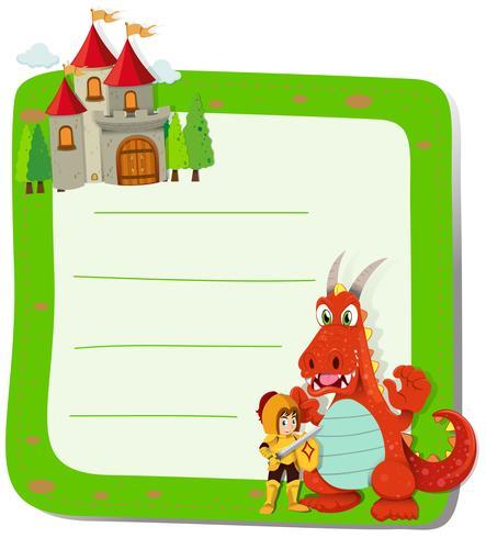 Diseño de papel con dragón y caballero.