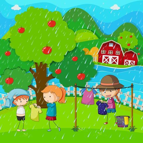 Escena de jardín con niños lavando la ropa bajo la lluvia