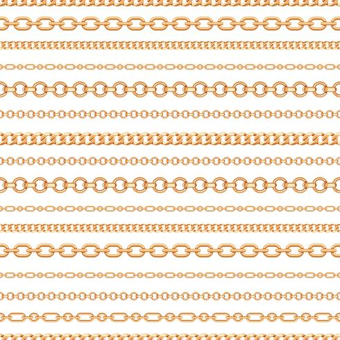 Seamless pattern of Gold chain lines on white background. Vector illustration