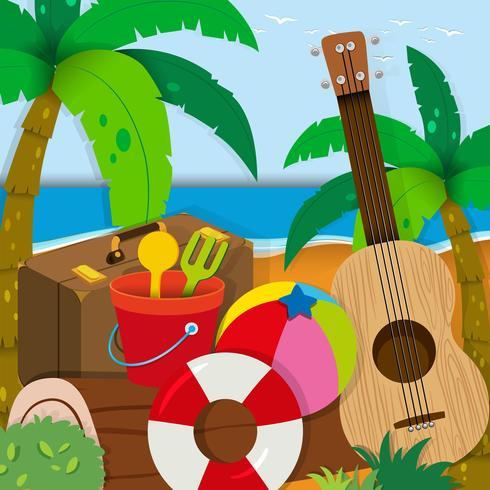 Sommar tema med leksaker och gitarr vektor