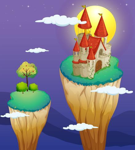 Un castillo en la parte más alta de un accidente geográfico.