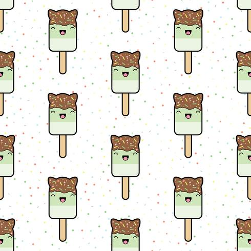 Patrón sin costuras kawaii lindo estilo helado