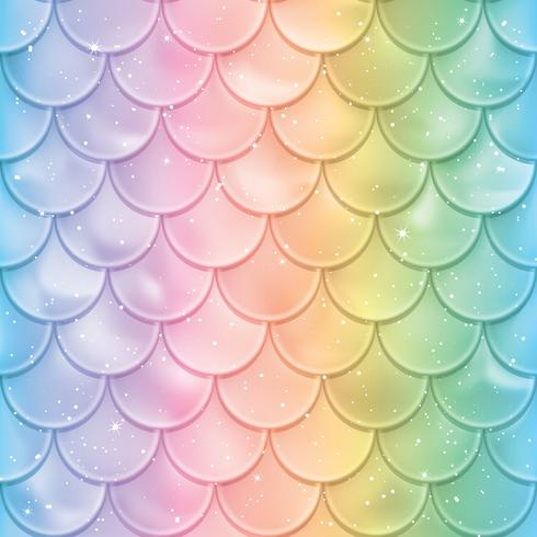 Fish scales pattern. Mermaid tail texture in spectrum colors vector