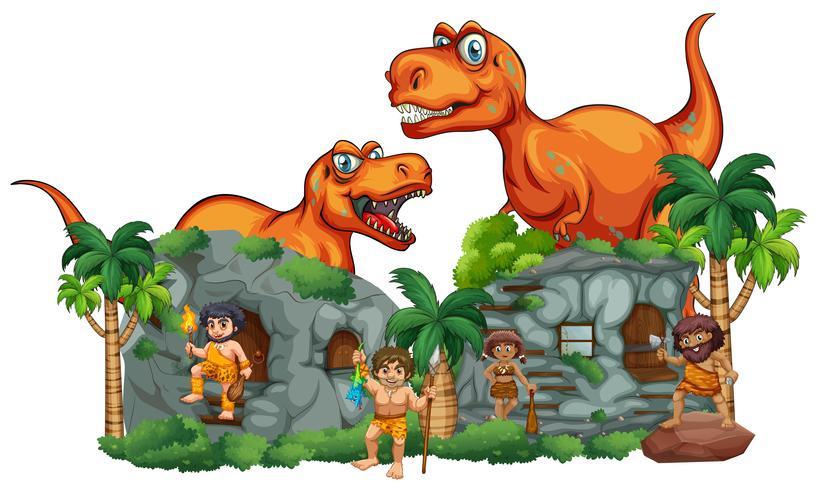 T-Rex y los hombres de las cavernas en Stonehouse