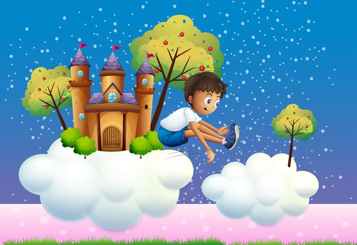 En pojke hoppar nära slottet