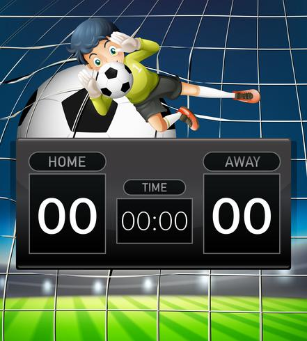 A goalkeeper scoreboard template vector