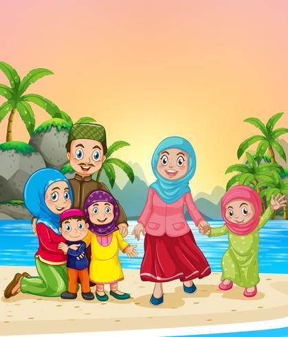 Muslimska familjen på stranden