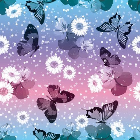 Padrão sem emenda floral. Pansies com chamomiles, buttrflies no fundo cor-de-rosa e azul da faísca. Ilustração vetorial