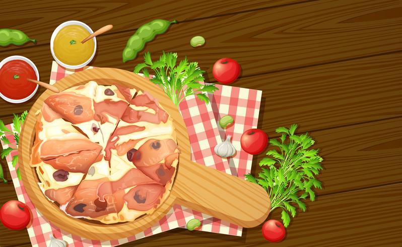 Vista aérea de pizza italiana