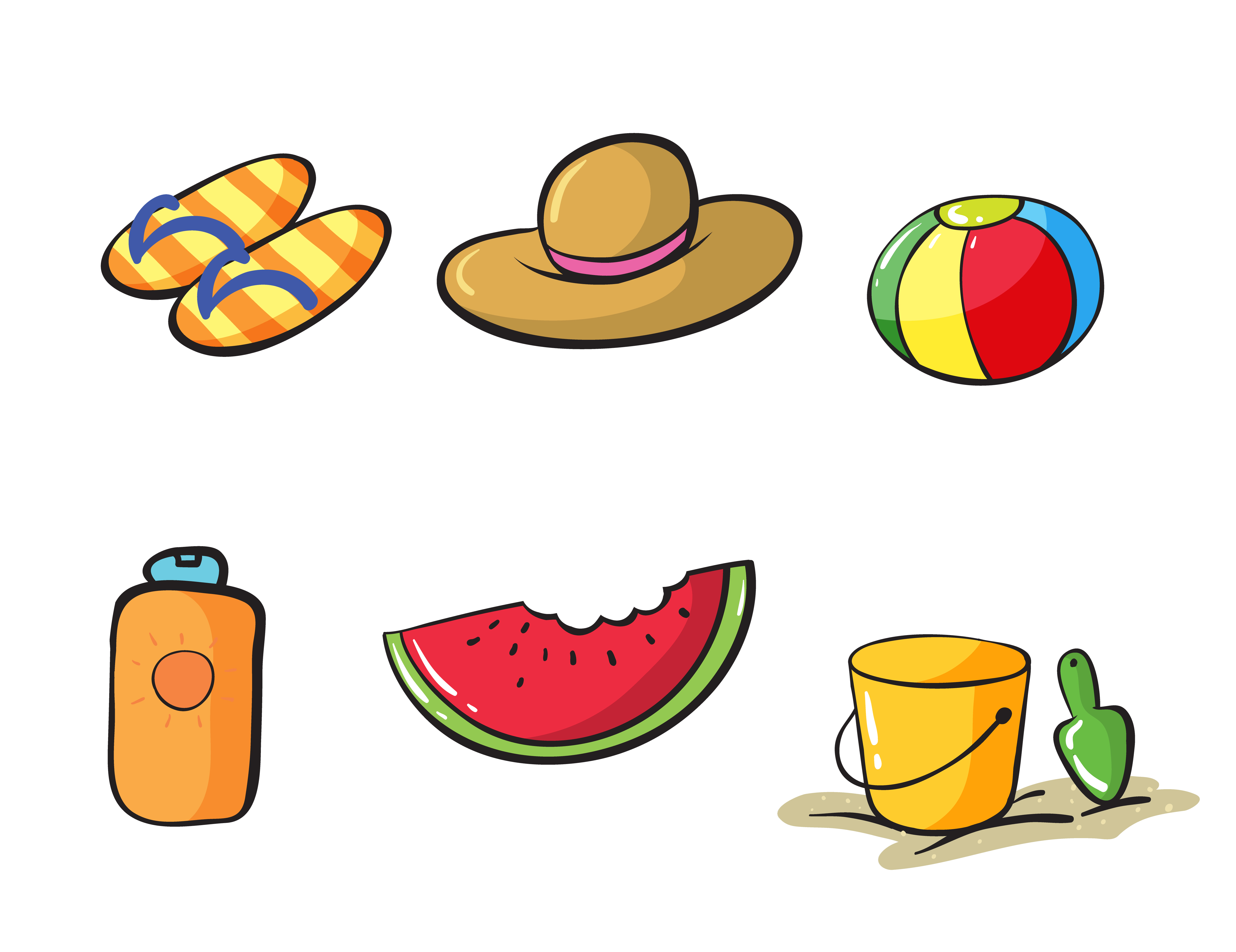 various beach objects - Download Free Vectors, Clipart ...