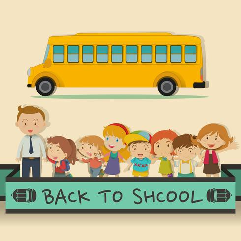 Back to school theme with students and teacher