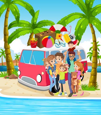 En familj vid strandferien