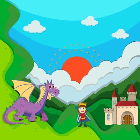 Príncipe y dragón por el palacio.