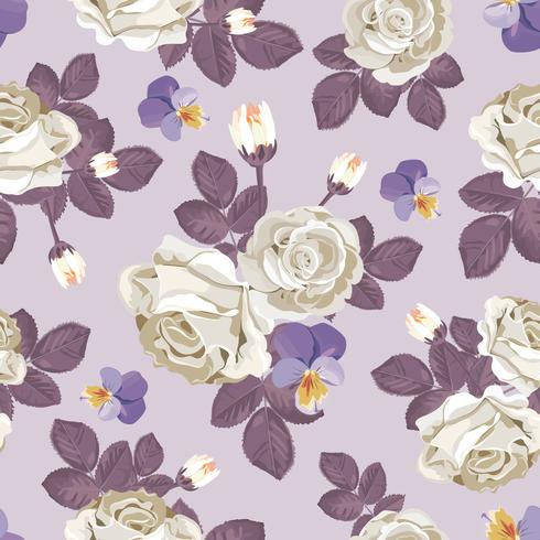 Retro floral seamless pattern. White roses with violet leaves, pansies on light purple background. Vector illustration