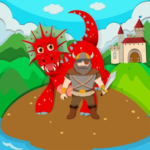 Viking en draak op eiland