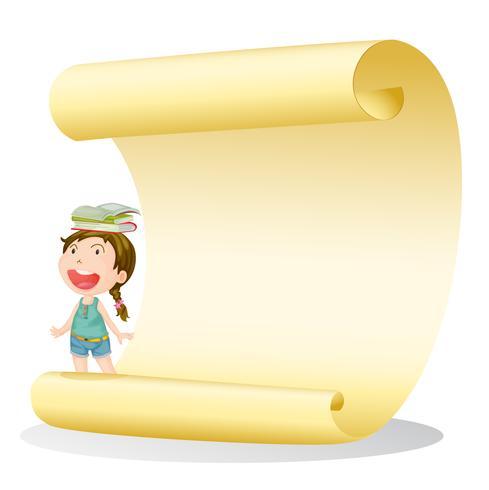 Una ragazza sorridente e un foglio di carta